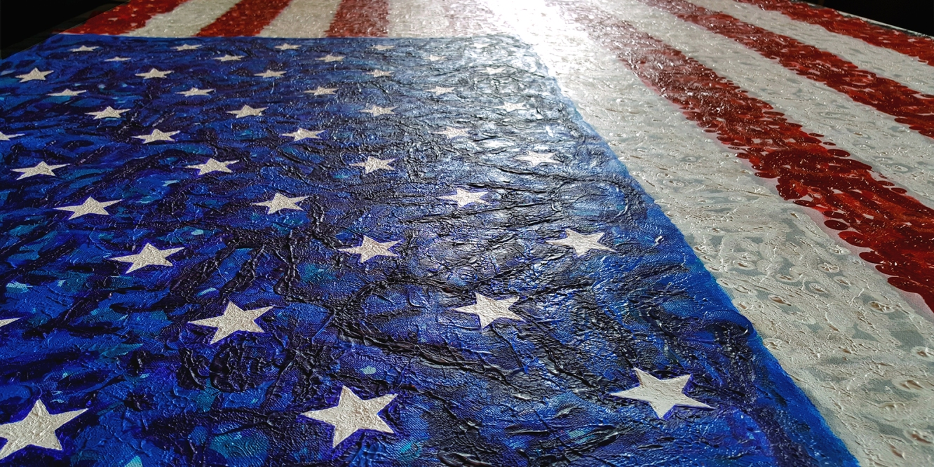 Close Up of the Completed Flag for Hope Canvas