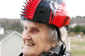 Russian Holocaust Survivor Wearing a Mohawk Bike Helmet